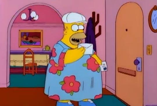 Homer es feliz por tener amigas que se visten como él