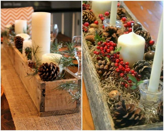 Ideas de centros de navidad para decorar tu mesa for Centros de mesa con pinas