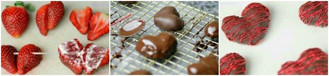 Corazones de fresa y chocolate